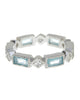 Sterling Silver Blue Topaz CZ Victorian Band Ring - Sterling Forever