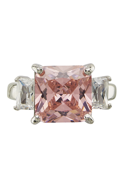 Sterling Silver Pink CZ Cocktail Ring
