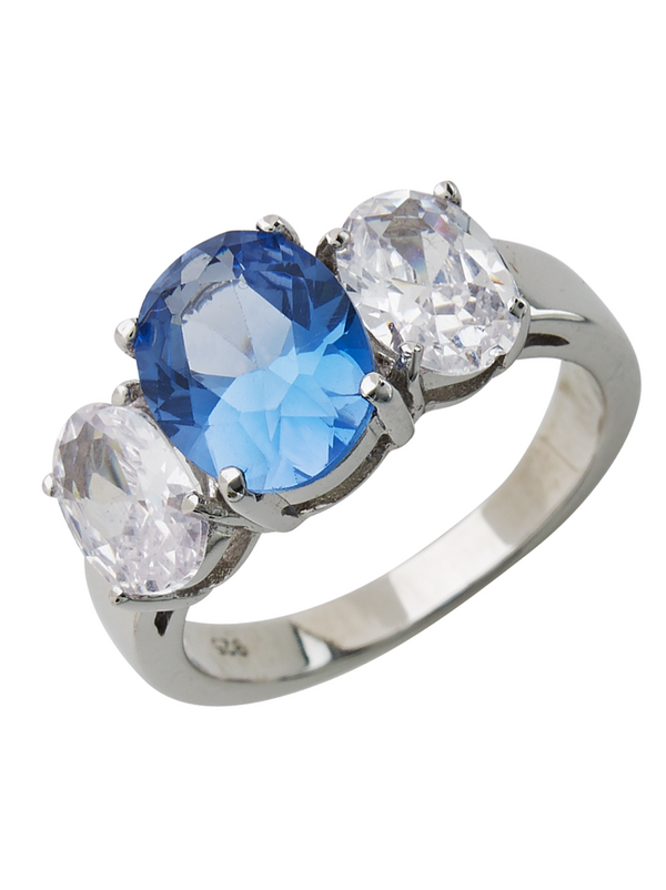 Sterling Silver Blue Topaz Triple Ovaline Anniversary Ring - Sterling Forever