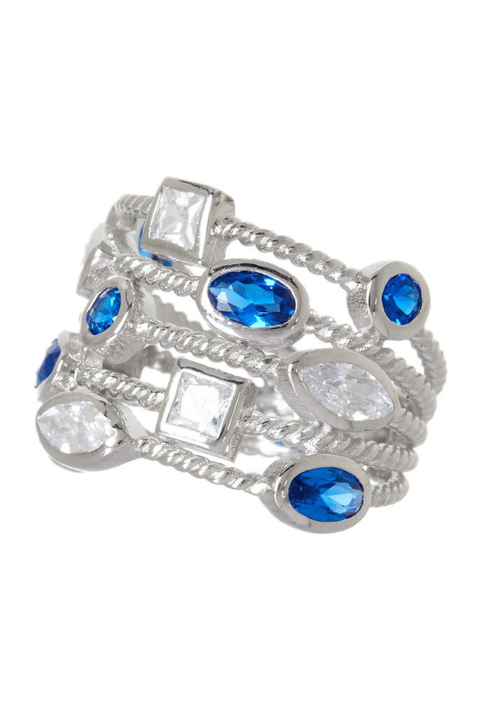 Sterling Silver Sapphire CZ Rope Chain Ring