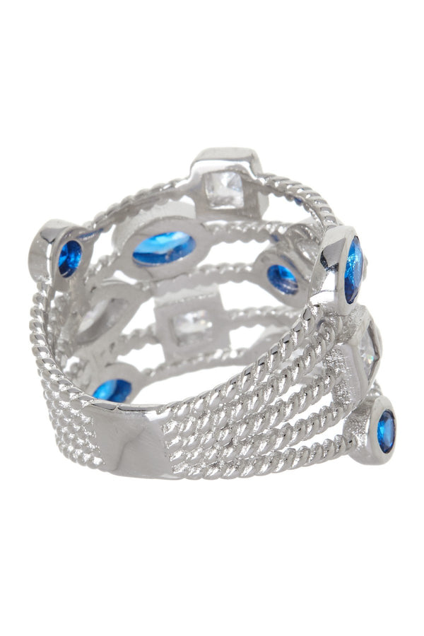 Sterling Silver Sapphire CZ Rope Chain Ring - Sterling Forever