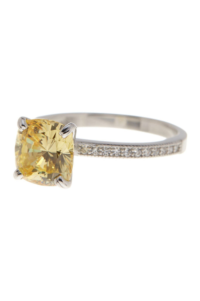 Sterling Silver Cushion Cut Canary Yellow CZ Solitaire Ring