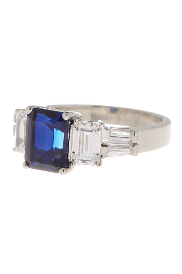 Sterling Silver Emerald Cut Blue Sapphire CZ 3-Stone Ring - Sterling Forever