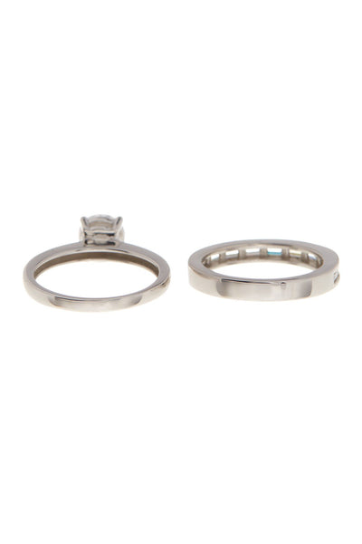 Sterling Silver Round CZ Solitaire Ring Set - Set of 2