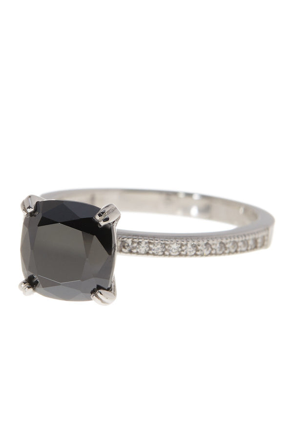 Sterling Silver Cushion Black CZ Solitaire Ring - Sterling Forever