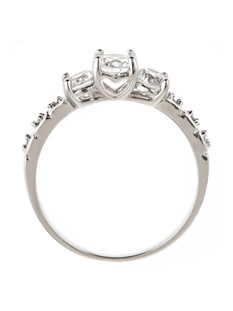 Sterling Silver Three Stone CZ Ring with Heart Setting - Sterling Forever