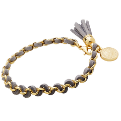 Grey and Gold Tassel Bracelet With Coin Charm