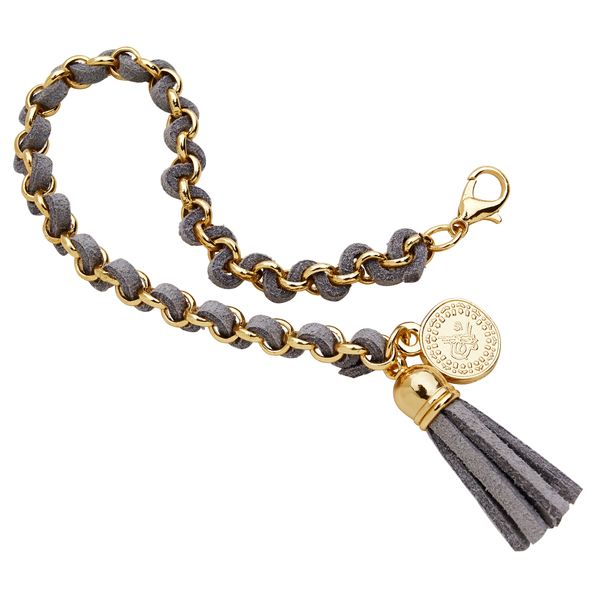 Gray and Gold Tassel Bracelet With Coin Charm