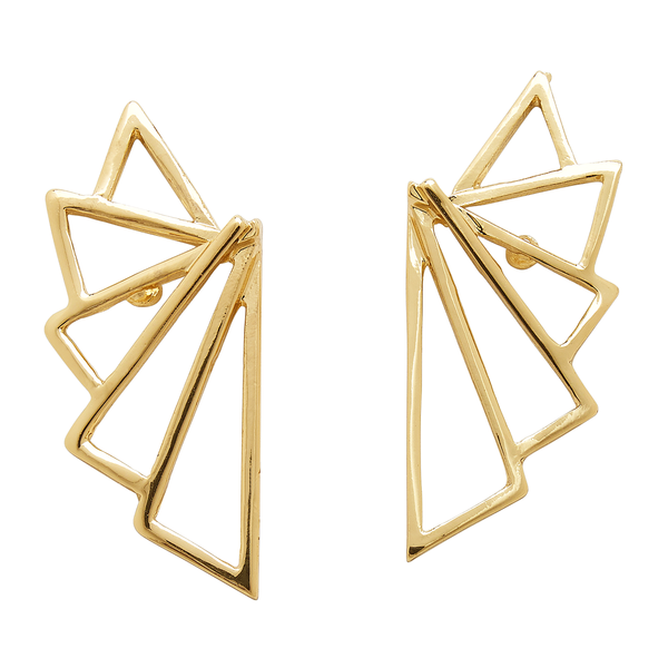 Geometric Gold Fan Earrings