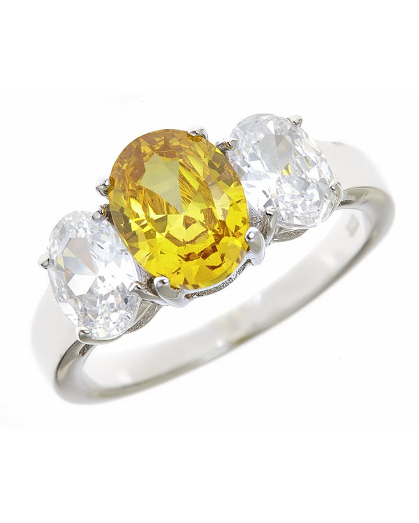 Sterling Silver Triple Ovaline Canary Anniversary Ring - Sterling Forever