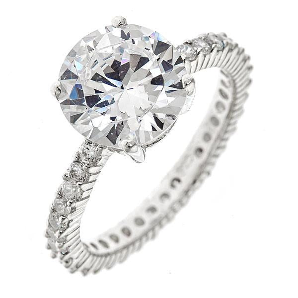 sterling silver 35 ct brilliant cut cz engagement ring - Cubic Zirconia Wedding Rings That Look Real