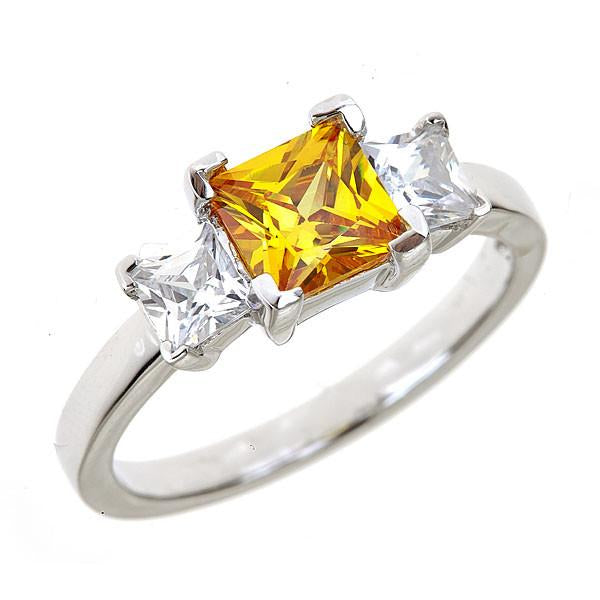 Sterling Silver Canary 3 Stone Engagement Ring