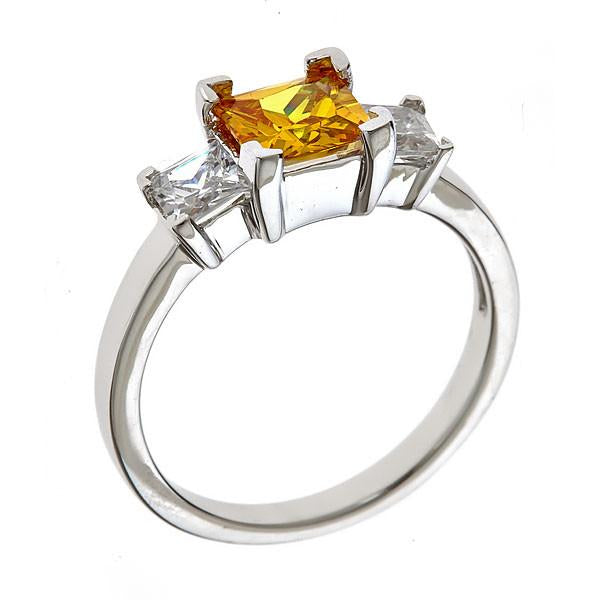 Sterling Silver Canary 3 Stone Engagement Ring - Sterling Forever