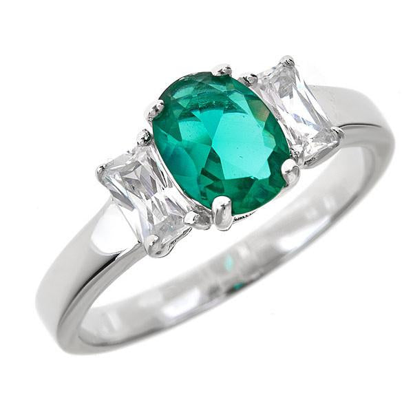 Sterling Silver Emerald CZ Three Stone Ring