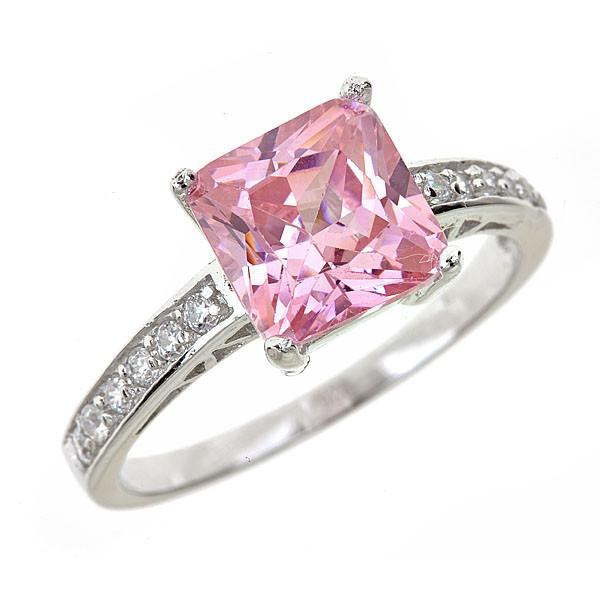 Superbe ... Sterling Silver Pink Sapphire CZ Princess Cut Ring
