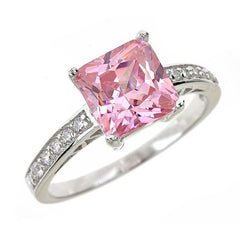 Sterling Silver Pink Sapphire CZ Princess Cut Ring