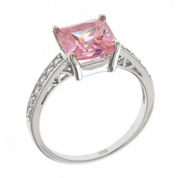 Sterling Silver Pink Sapphire CZ Princess Cut Ring - Sterling Forever