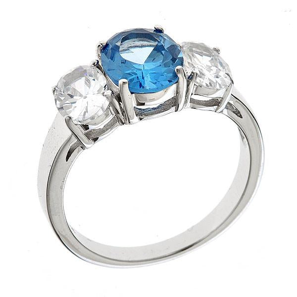 Sterling Silver Blue Topaz Triple Ovaline Anniversary Ring