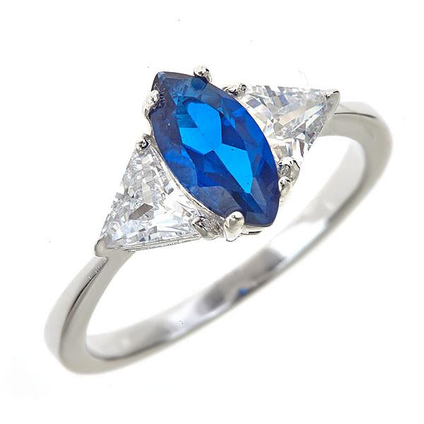 Sterling Silver Sapphire Marquis Cut Ring