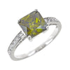 Sterling Silver Princess Cut Peridot Cz Engagement Ring