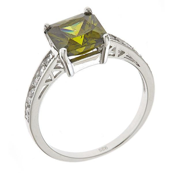 Sterling Silver Princess Cut Peridot Cz Engagement Ring - Sterling Forever