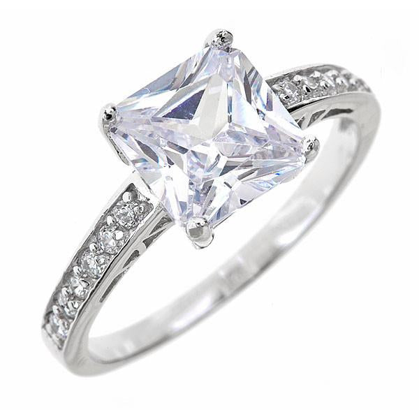 Princess Cut CZ Engagement Ring Ring Sterling Forever 5 Silver