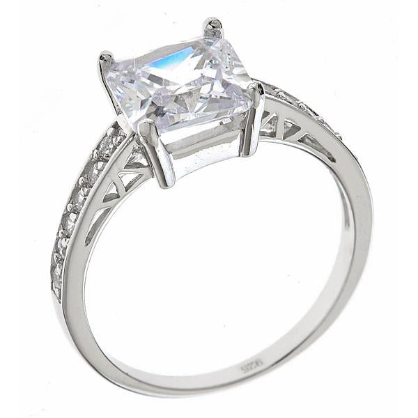 Princess Cut CZ Engagement Ring Ring Sterling Forever