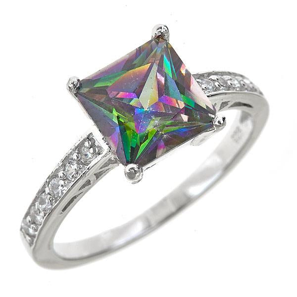 Diamond Engagement Ring Mystic Topaz