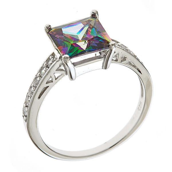 Mystic Topaz CZ Engagement Ring - Sterling Forever