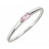 Sterling Silver Pink Sapphire CZ Stackable Band Ring
