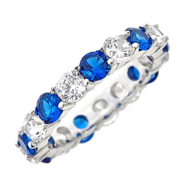Sterling Silver Blue Sapphire CZ Eternity Band Ring