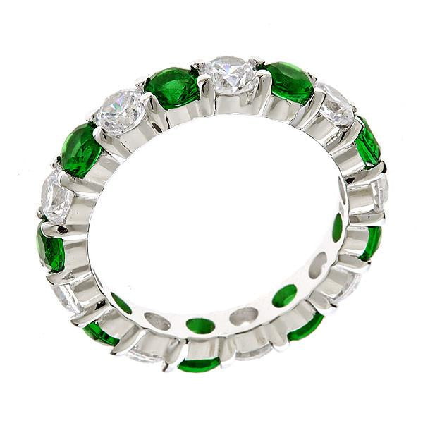 Sterling Silver Emerald Celebration Band Ring