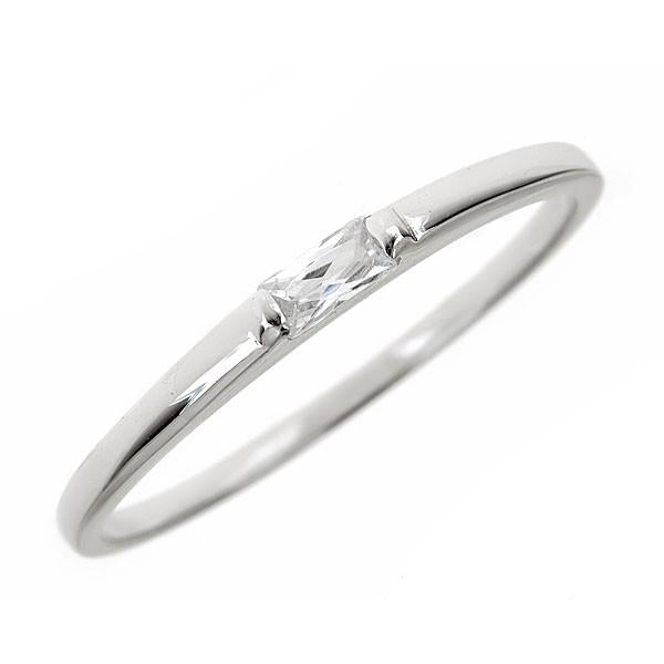 Sterling Silver White Cubic Zirconia Stackable Band Ring