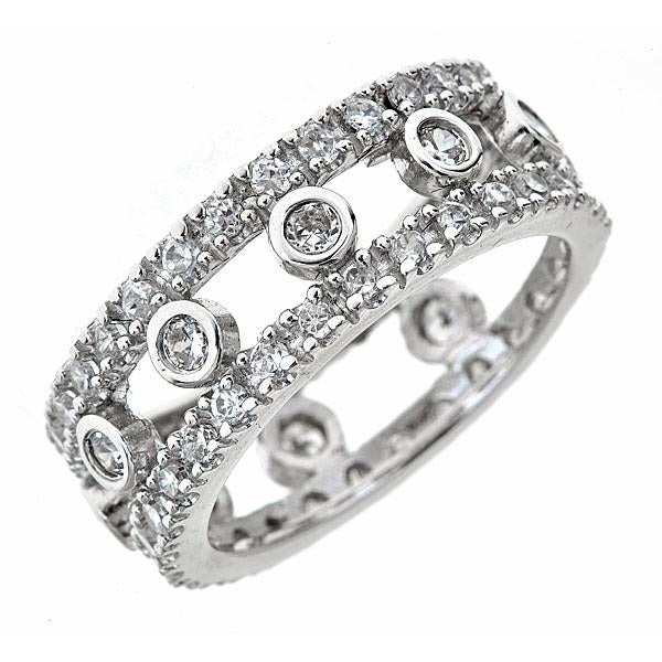 Sterling Silver Open Bezel Set Eternity Band Ring Ring Sterling Forever 5 Silver