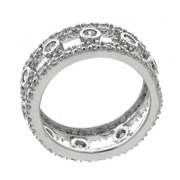 Sterling Silver Open Bezel Set Eternity Band Ring - Sterling Forever