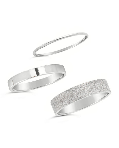 Sterling Silver Textured Stack Rings - Set of 3