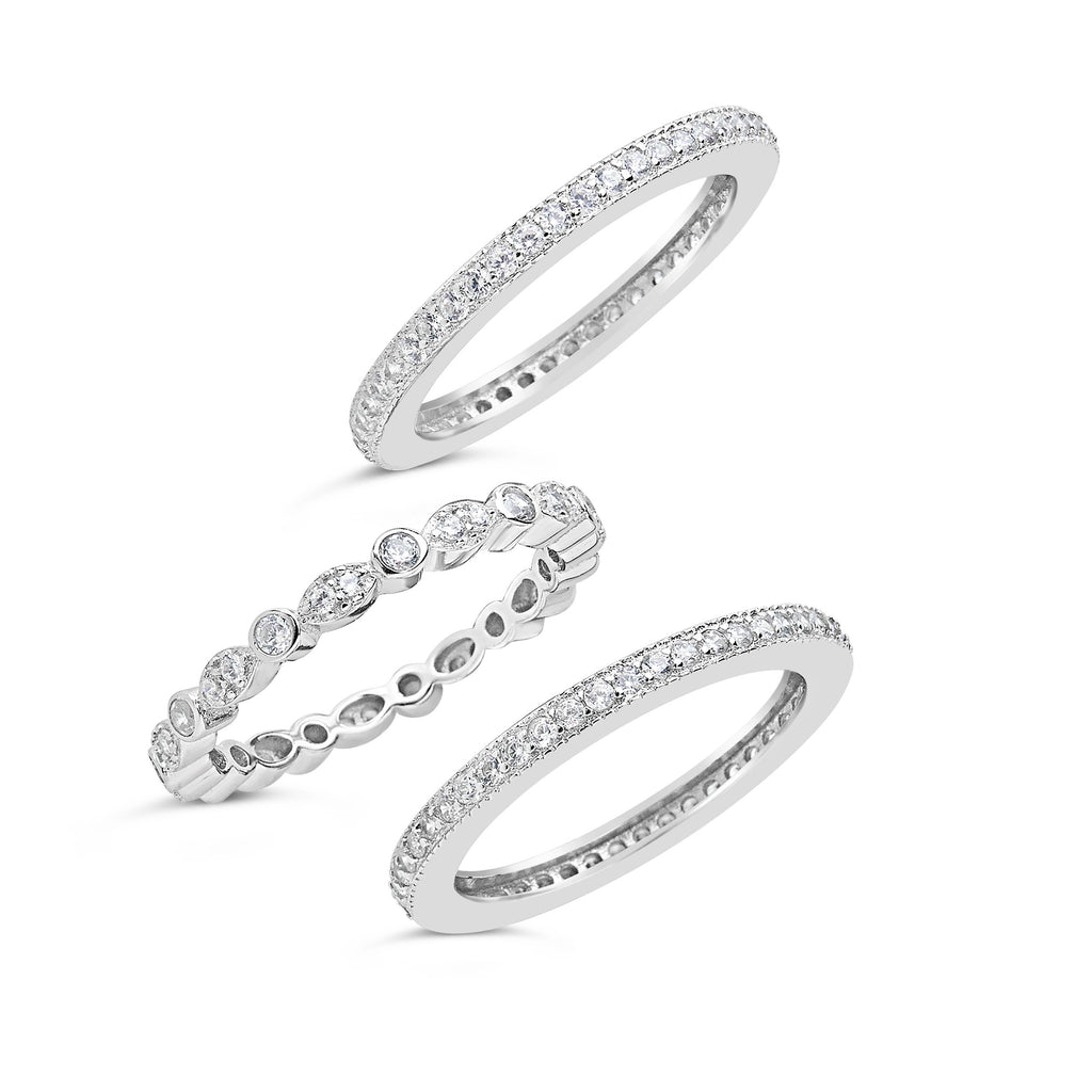 Sterling Silver Three Row CZ Band Ring - Sterling Forever