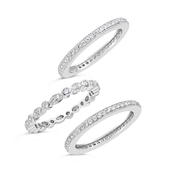Sterling Silver Three Row CZ Band Ring