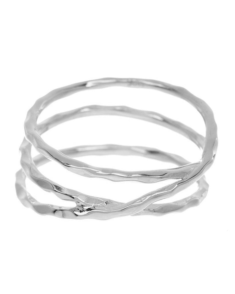 Sterling Silver Textured Multi Band Ring Ring Sterling Forever Silver 5