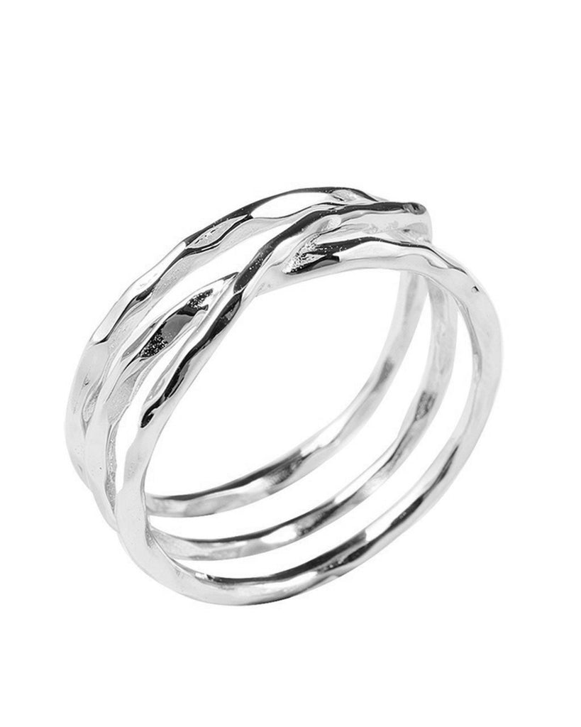 Sterling Silver Textured Multi Band Ring Ring Sterling Forever