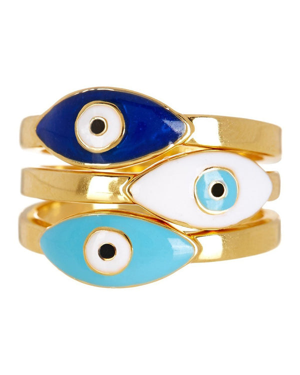 3-Piece Gold Plated Evil Eye Ring Set - Sterling Forever