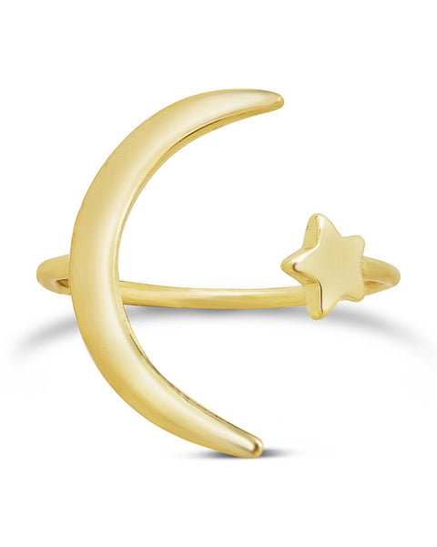 Sterling Silver Crescent Moon Open Ring Ring Sterling Forever Gold 5