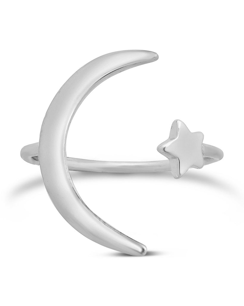 Sterling Silver Crescent Moon Open Ring - Sterling Forever