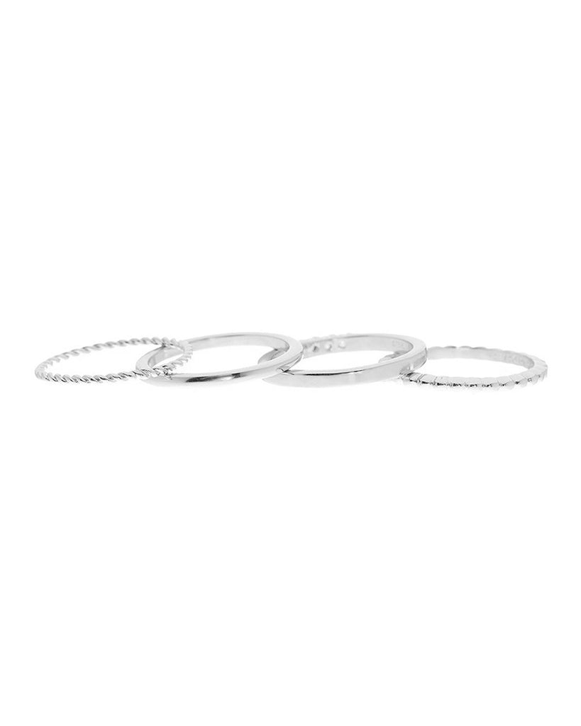 Textured Stackable Band Ring Set of 4 - Sterling Forever