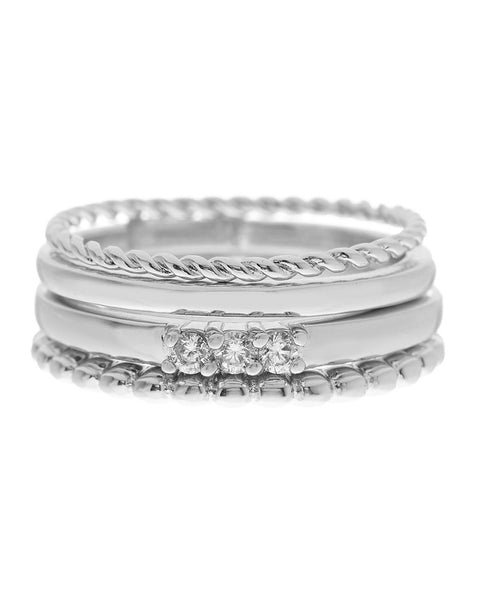 Textured Stackable Band Ring set of 4 Ring Sterling Forever Silver 5