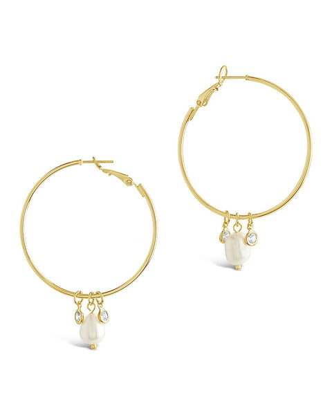 Pearl and Bezel CZ Hoops - Sterling Forever
