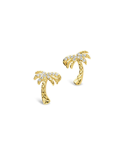 Sterling Silver CZ Palm Tree Stud Earrings