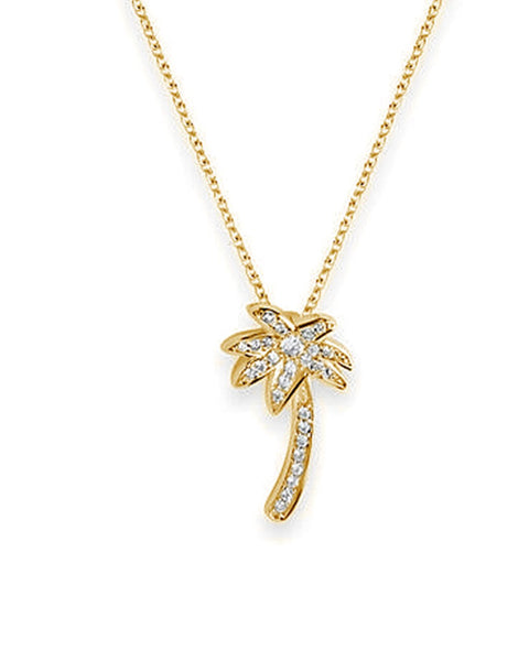 Sterling Silver Palm Tree Pendant Necklace Necklace Sterling Forever Gold 16