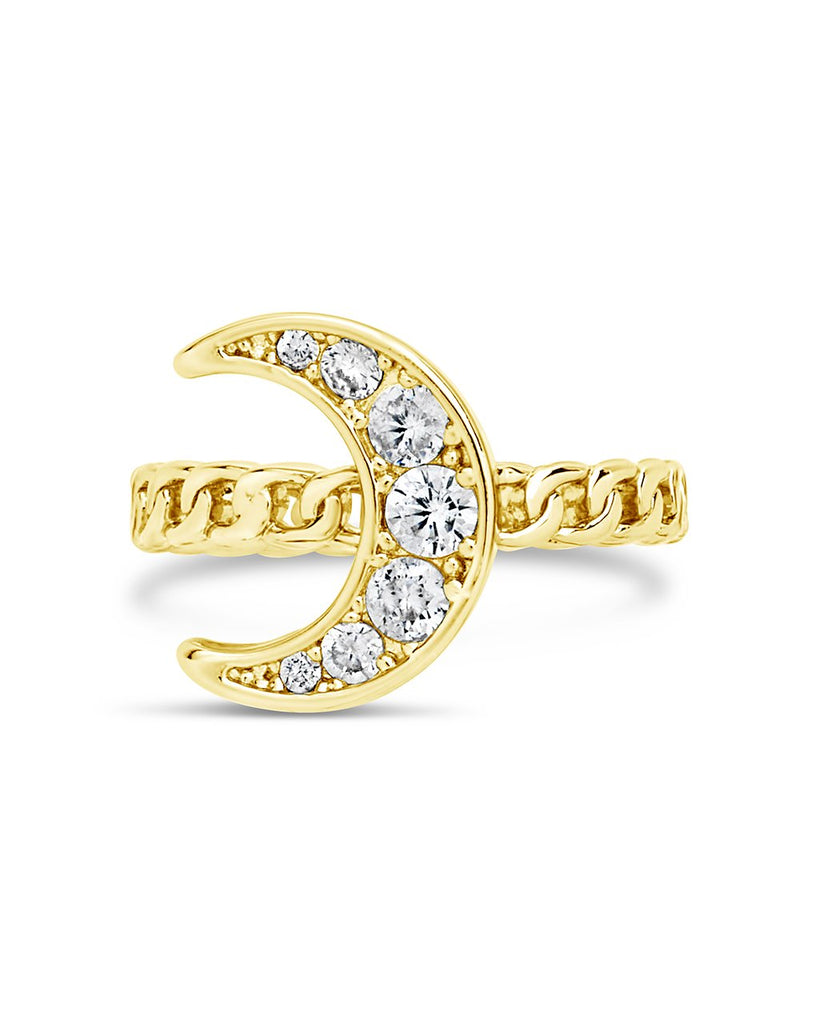 CZ Moon Chain Linked Ring - Sterling Forever