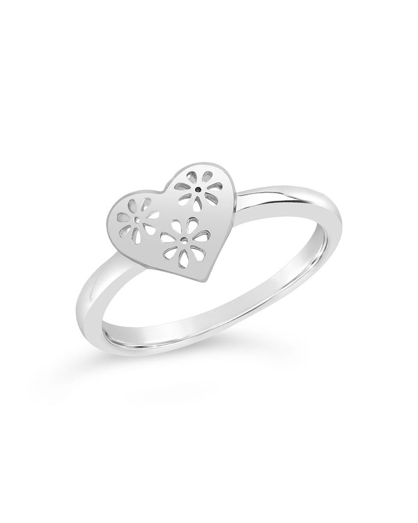 Heart Cut Out Lace Signet Ring - Sterling Forever